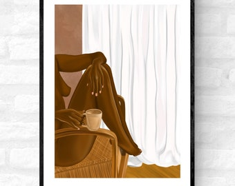 Me Time • Female illustration boho woman, Handmade black female wall print, Black female poster, Afrocentric home décor, Self care art print