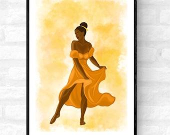 Twirl • Afro woman art print, Afrocentric woman wall décor, Afro woman wall art, Black wall art décor UK, Buy art for black woman, Art Gift