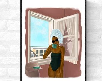 Blue Skies & Coffee • black woman art, Afro woman wall art, Black wall art décor UK, Afro woman wall art décor, Afrocentric art, boho art