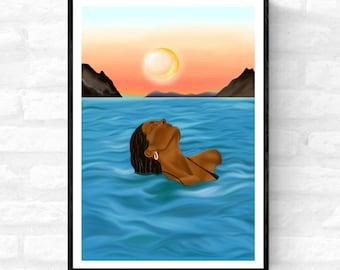 Holiday• black woman art, dream vacation art, french riviera art, Afro woman wall art , Afrocentric art, bohemian holiday art, boho wall art