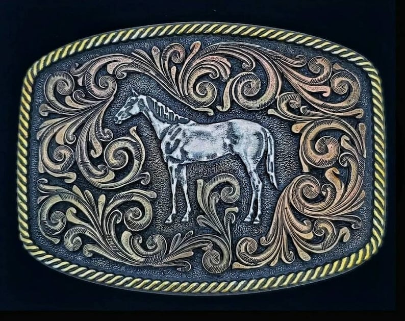 Montana Silversmiths Tri-Color Standing Horse Equestrian Belt Buckle NEW