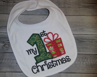 Dribble Bib READY TO SHIP Baby Christmas Gift Santa Bib Stocking Filler Christmas Bib Festive Bib Baby Bib Australian Seller
