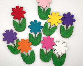 Wooden DAISY FLOWER Magnet 3x1.5 inches