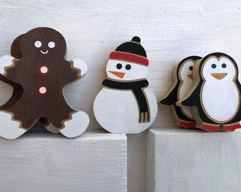 Christmas SNOWMAN, GINGERBREAD and penguin, holiday Tiered Tray decor
