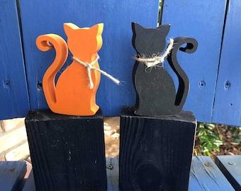 Black CATS / Wood /HALLOWEEN rustic Cats, Farmhouse decor