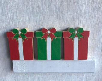 Wooden Christmas PRESENTS, Holiday Tiered Tray decor