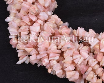 34 Strand Natural Pink Opal Uncut Chips Raw Gemstone Beads,AAA Quality Pink Opal Gemstone Rough Smooth Raw Beads,5-7 mm Opal Chips