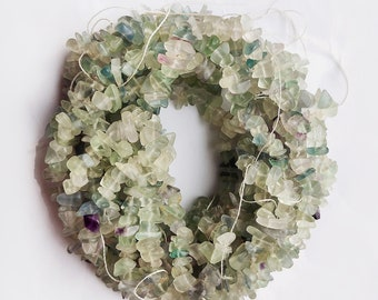 34inch Strand, Natural Fluorite Gemstone Uncut Chips, Fluorite Smooth Raw Beads, Rough Beads, Natural Quality Fluorite Chips