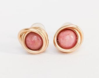 Gemstone stud earrings,raw rhodonite earrings,untreated rhodonite,hypoallergenic earrings,pink crystal stud earrings,fashion earrings