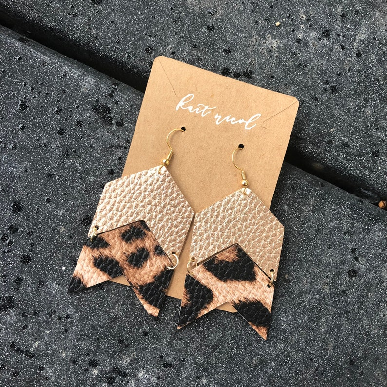 the Sadie faux leather earrings leopard
