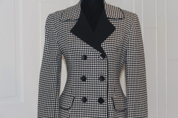 Vintage 1980s 80s Houndstooth Black White Blazer … - image 2