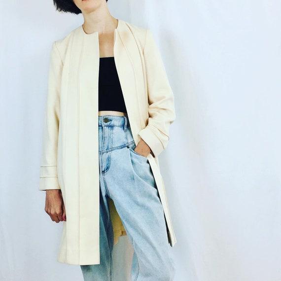 Cream Wool Wrap Coat / Size S/M