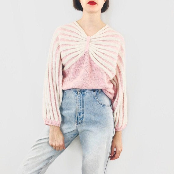 Textured Pale Pink + White Knit / Size S/M
