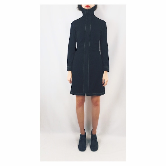 Zip Front Funnel Neck Dress / Size XS/S