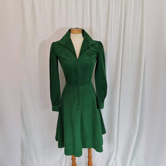 70s Green Ultrasuede Dress