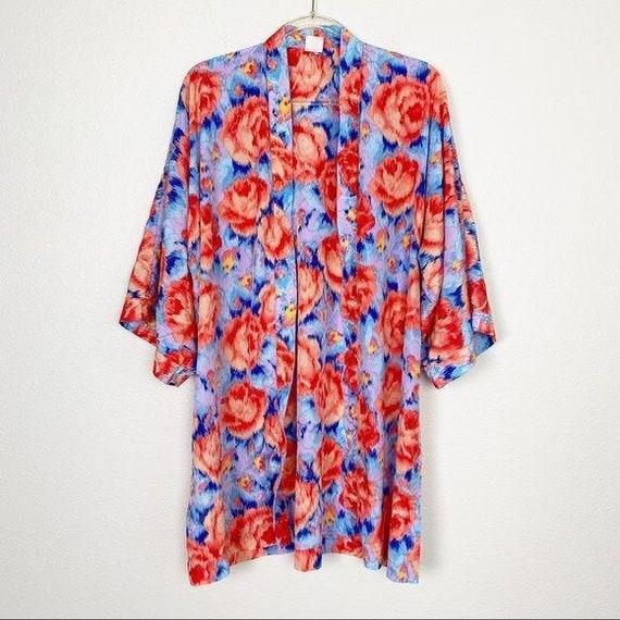 Vintage Gottex Floral Rose Open Front Robe Kimono
