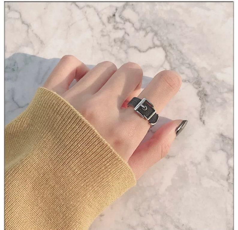 Personality Tibetan Ring Adjustable Silver Metal Vintage Cross Geometric Punk Open Finger Rings for Women Men