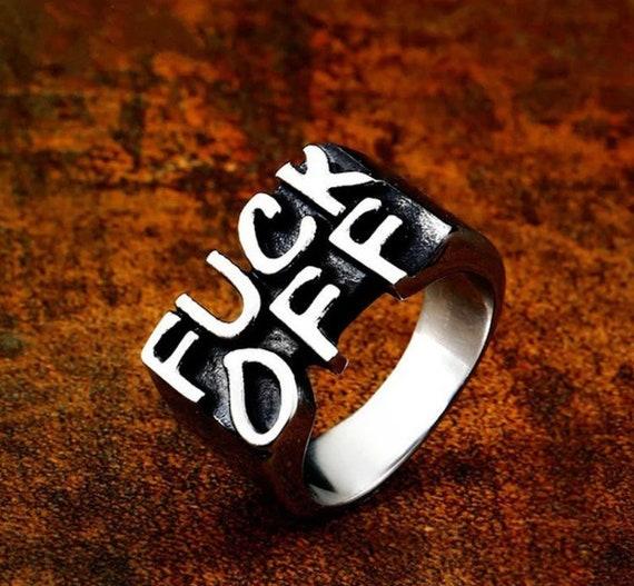 Women Men Stainless Steel Letter FUCK-OFF Cool Gothic Punk Biker Finger Rings