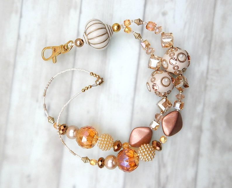 and Gold Beaded Breakaway Lanyard Chunky Peaches and Cream: Peach Cream Key Lanyard Magnetic ID Badge