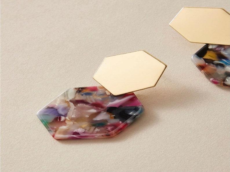 Gifts for Her Multicolored Hexagon Earrings Statement Earrings Gold Earrings