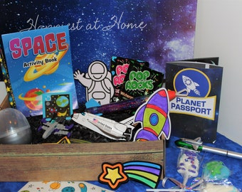 Space themed round treat box