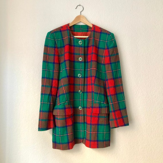 Vintage Plaid Blazer - Betty Barclay - 80's