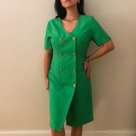 Vintage Betty Barclay Green Silk Dress
