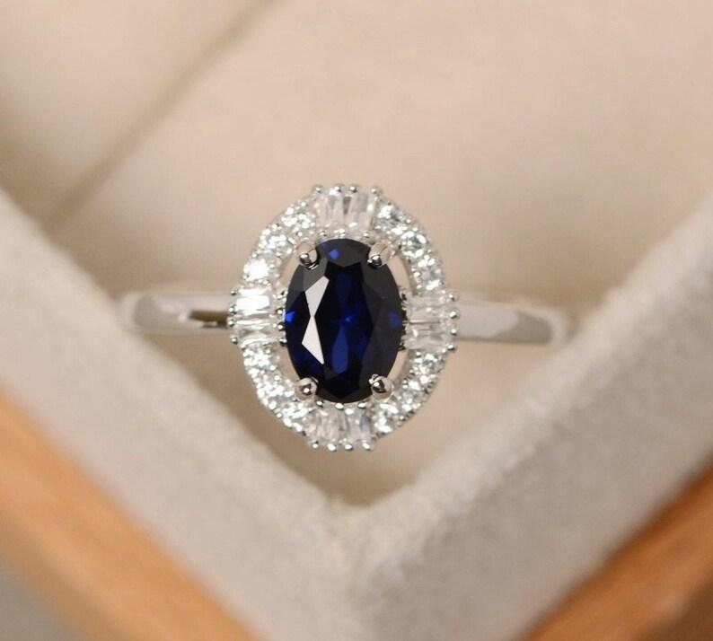 Dainty Promise Ring. Christmas Gift Sapphire Engagement Ring Sapphire Diamond Ring Sapphire Silver Ring for Women Blue Sapphire Ring