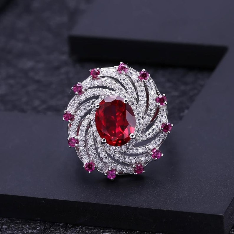 Natural Ruby Gemstone /& Zircon 925 Sterling Silver Ring Engagement Ring lustrous Ring Silver ring Wedding ring Ruby stone ring
