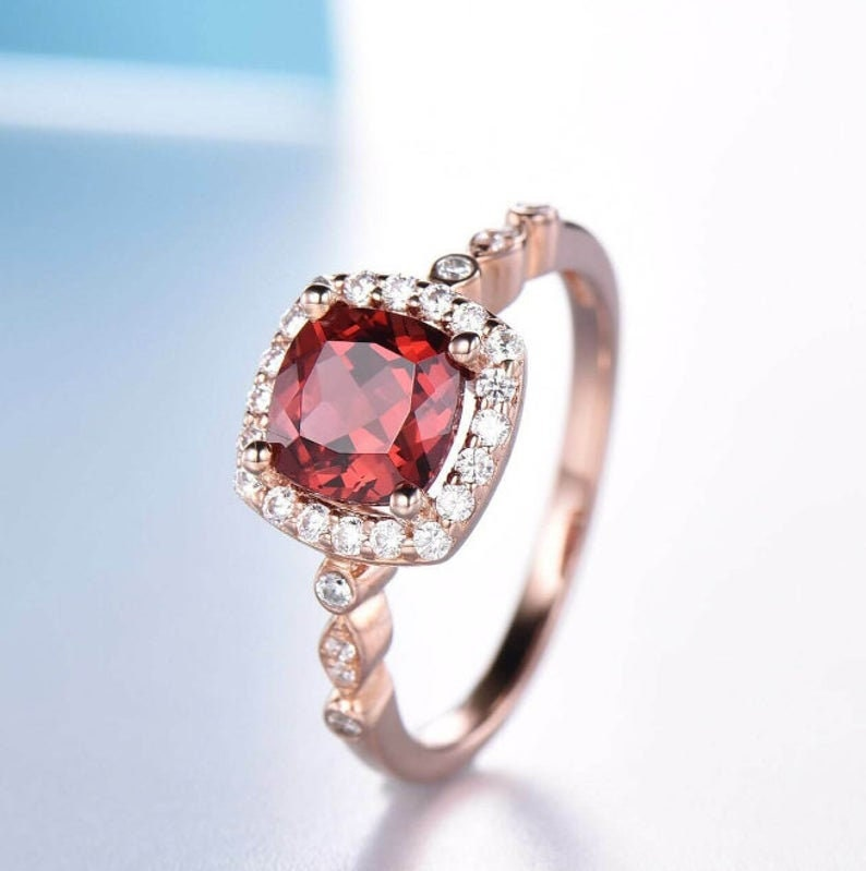 Garnet /& Diamond Ring,Engagement Ring,Personalized Gift,Mothers Day Gift,Sterling Silver Ring,Wedding Ring,Gift for Her,Birthstone Ring.