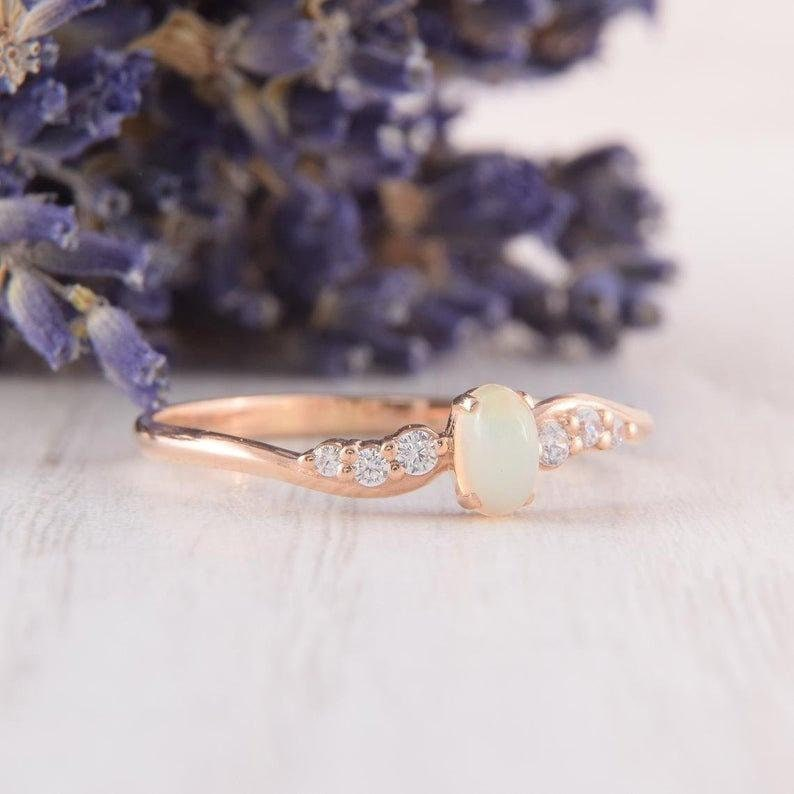 Engagement Ring Stacking Ring Opal Ring Opal Promise Ring. Opal Birthstone Ring Opal Wedding Band Opal Art Deco Ring Mothers Day Gift