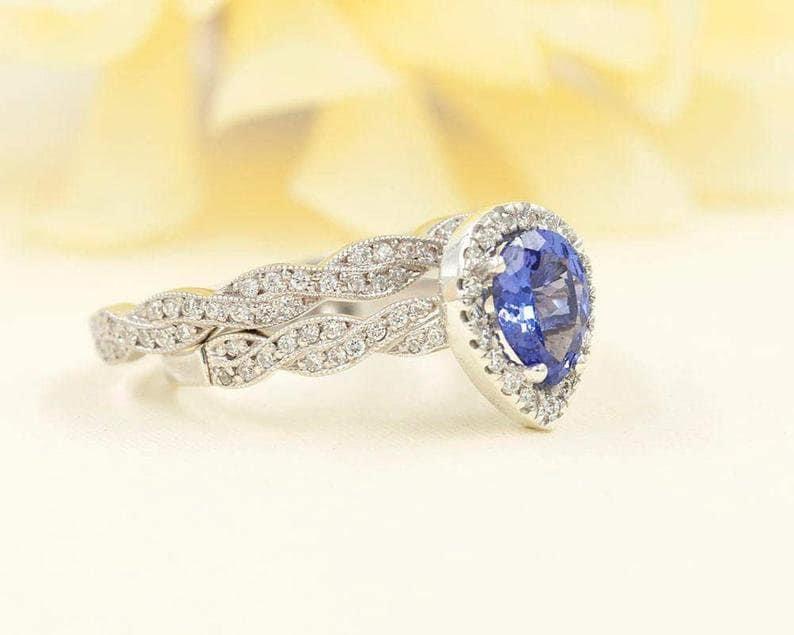 Natural Tanzanite Gemstone Ring-Diamond Ring-Engagement Ring-925 Sterling Silver Ring-Combination Ring-Christmas Gifts-December Birthstone.