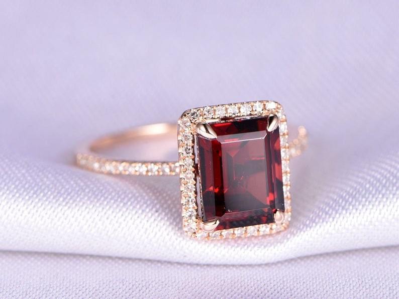 Garnet Emerald cut stone Ring January Birthstone Gift for Her Engagement Ring 925 Sterling Silver Ring Christmas Gift Wedding Ring