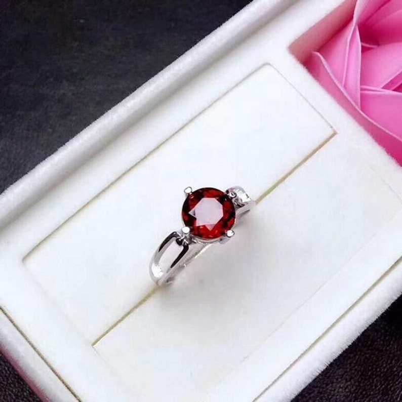 Wedding Ring 925 Sterling Silver Ring Engagement Ring Personalized Gift Gift for Her. Garnet Ring Mothers Day Gift Birthstone Ring
