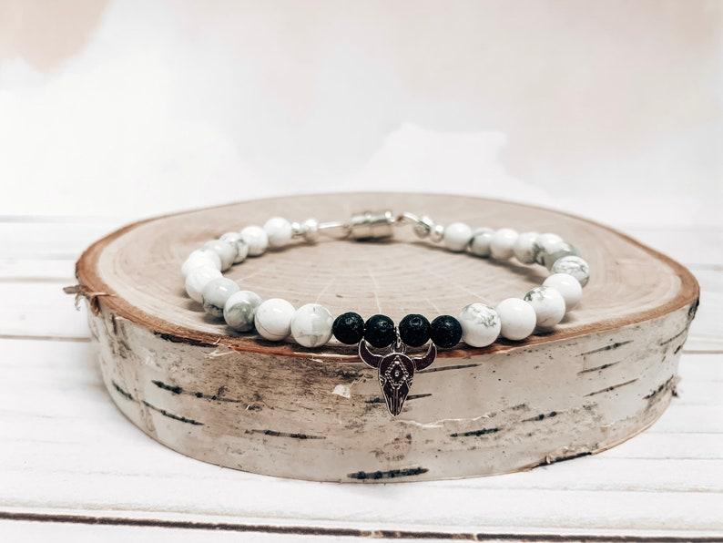 bull skull silver pendent minimalistic bracelet Howlite and lava rock simple defuser beaded bracelet