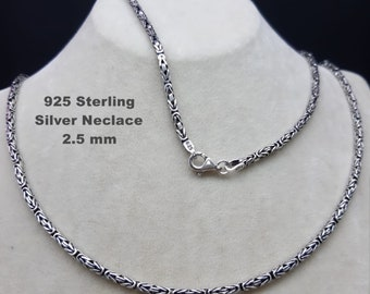 Mens King Chain Necklace 925 Sterling Silver Man, Womens Silver Chain,2.5 MM Lenght .16'' To 26''inches,Handmade Bali Byzantine Chain Chain