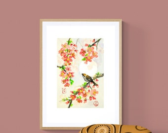 Cherry blossom  IKEA frame  A2-A4, sparrow,spring, wall hanging,Giclée,digital,scandinavian,nordic, kitchen décor, painting, sumie, ink, art