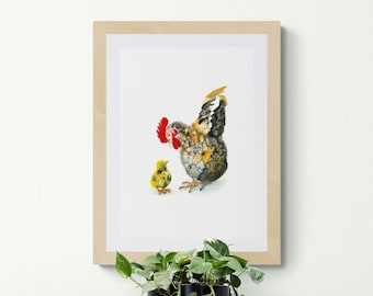 Chinese rooster print, IKEA frame size, wall hanging,Giclée,scandinavian,nordic home, kitchen décor, painting, sumie, ink, art