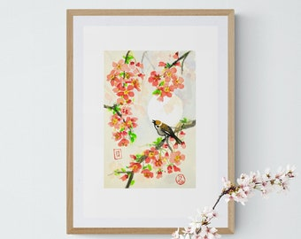 Cherry blossom. IKEA + US frame size, Chinese,sparrow, wall hanging,Giclée,scandinavian,nordic home, kitchen décor, sumie, ink, art