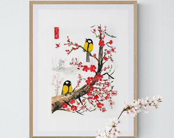 Cherry blossom IKEA frames, Chinese,great tit, wall hanging,Giclée,scandinavian,nordic home, kitchen décor, sumie, ink, art