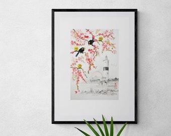 Disagreement IKEA + US frame size,cherry blossom wall hanging,Giclée,scandinavian,nordic, kitchen décor, painting, sumie, ink, art