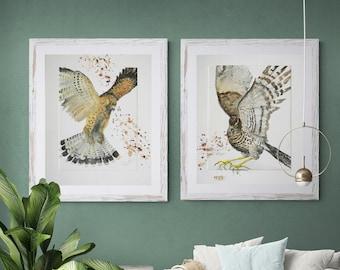 Bird of pray. 2 print set, IKEA+US frame size, kestrell,hawk, wall hanging,Giclée,scandinavian,nordic, kitchen décor, painting, art