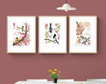 Chinese ink 3 print set, IKEA or US frame,tit, sparrow, wall hanging,Giclée,scandinavian,nordic, kitchen décor, painting, sumie, art