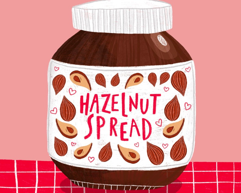 Nutty Illustrated Print Illustration Chocolate Gift Idea Quirky Home Art Present Pink Nutella Romance Valentines Home Decor
