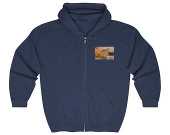 Cat In Sink ~ Printed Front and Back ~ Full Zip Hoodie ~ Hooded Sweatshirt ~ Zipper ~ Heavy Blend ~ Zip Up Hoodie