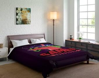 Gamer Hardcore Comforter ~ Bedroom ~ Home Decor ~ Extra Soft ~ Custom Photo ~ Linen ~ Blanket ~ Bedspread ~ 2 Sizes