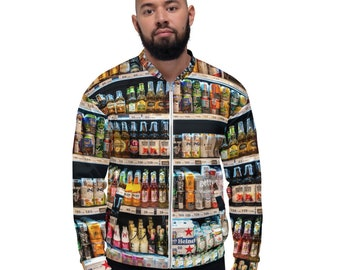 Beer Drinking Bomber Jacket ~ All Over Print ~ Zipper Jacket ~ Lightweight ~ Unisex ~ Gift For Anyone ~ Hoodie