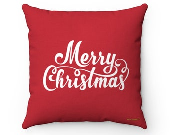 Merry Christmas Square Pillow ~ Printed Front & Back ~ Includes Insert ~ Couch ~ Sofa ~ Chair ~ 3 Sizes ~ Xmas ~ Holiday