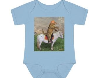 Riding Cat Infant Onesie ~ Baby Boy Onesie ~ Baby Girl Bodysuit ~ Romper ~ Infant Bodysuit ~ Premium Baby Clothing