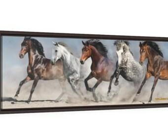 Wild Horses Framed Canvas ~ 36x12 ~ Canvas Wrap ~ Home Décor ~ Wall Art ~ Premium Wall Art ~ 5 Horses Running Wild